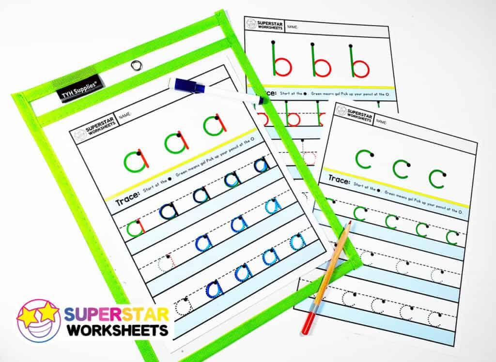 Alphabet Writing Worksheets Lowercase - Superstar Worksheets