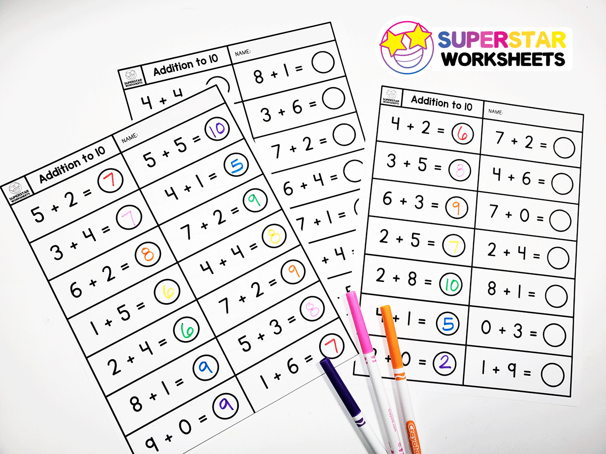 Single Digit Addition Worksheets - Superstar Worksheets