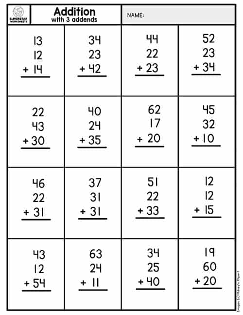 Double Digit Addition Without Regrouping - Superstar ...