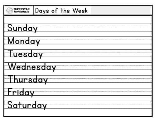 Days Of The Week Handwriting Worksheets - Superstar Worksheets