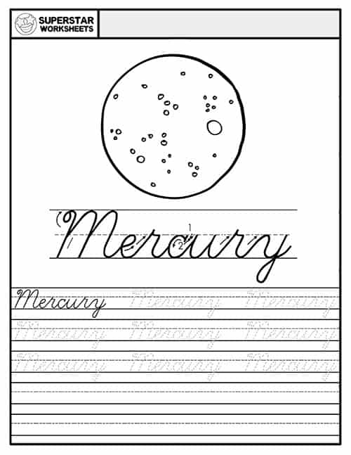 Planets Cursive Handwriting Worksheets - Superstar Worksheets