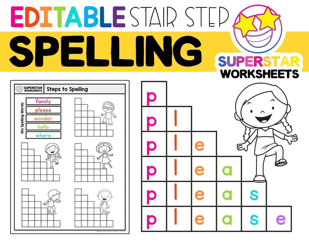 Stair Step Spelling Worksheets Superstar Worksheets