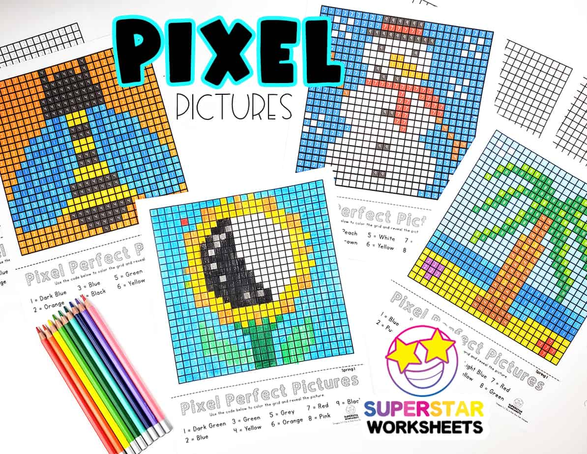 Pixel Coloring Pages Superstar Worksheets