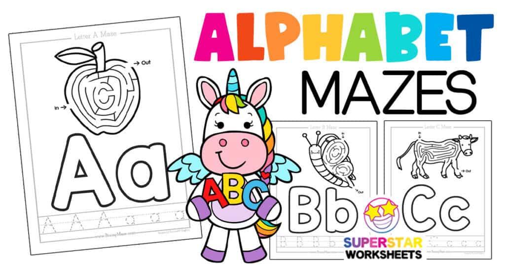 Free Alphabet Mazes - Superstar Worksheets