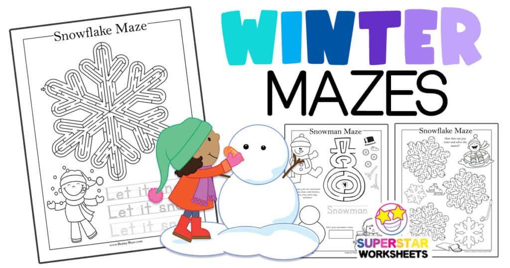 Winter Mazes - Superstar Worksheets
