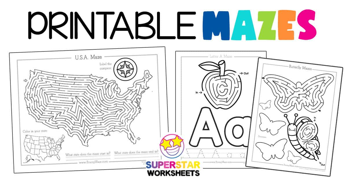Printable Mazes - Superstar Worksheets